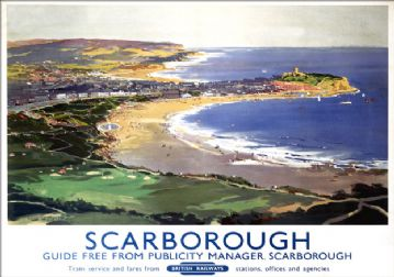 Scarborough Coast, Yorkshire. BR Vintage Travel Poster by Frank Henry Mason. 1948